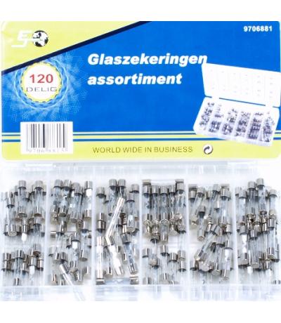 Assortiment glas zekeringen 120 delig Assortiment doos