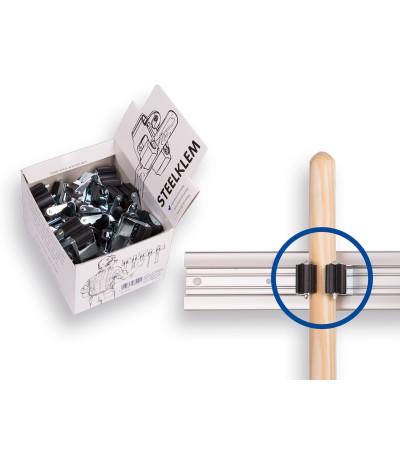 1 x displaydoos prax met steelklemmen rond 25 mm. inhoud/prijs per 20